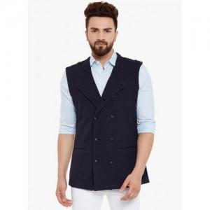 Hypernation Blue Cotton Solid Men's Waistcoat