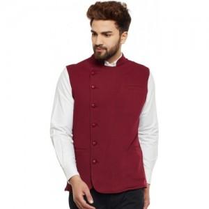 Hypernation Maroon Cotton Solid Ethnic Jacket