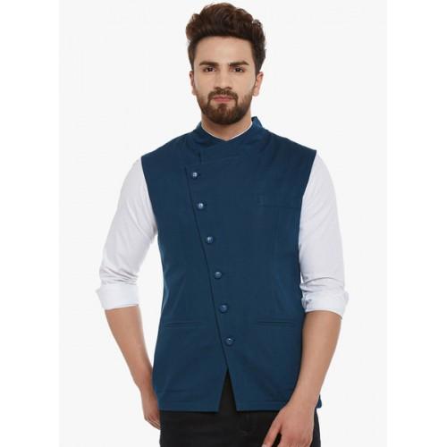 Hypernation Blue Solid Nehru Jacket
