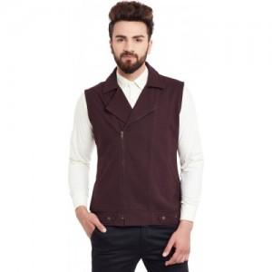 Hypernation Maroon Cotton Slim Fit Solid Waistcoat