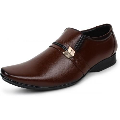 BUWCH Brown Formal Shoe Slip On For Men