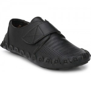 ZebX Black Synthetic Leather Slip On Loafers