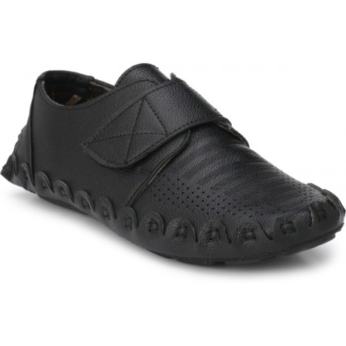 ZebX Black Synthetic Leather Loafers