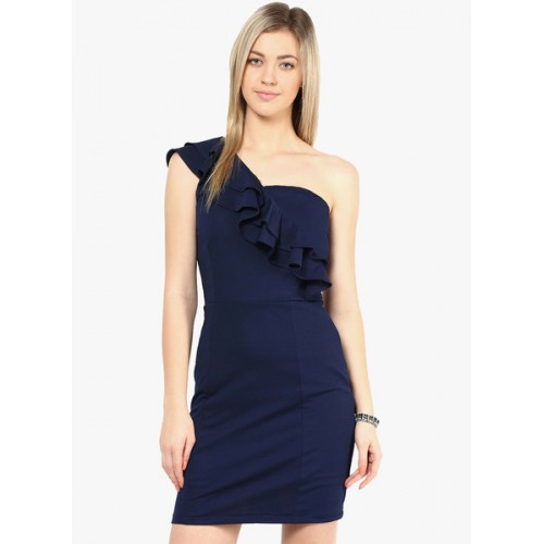 Miss Chase Navy One-Shoulder Dress