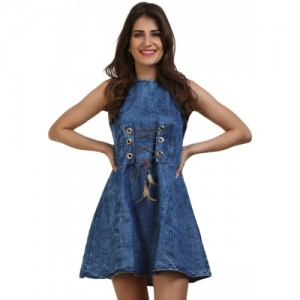 BuyNewTrend Women's Fit and Flare Blue Dress