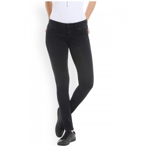 Vero Moda Women Black Slim Fit Low-Rise Jeggings
