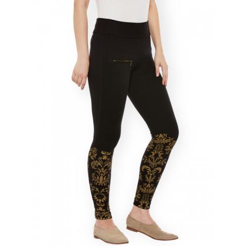 0955485f3bc44e Buy Rider Republic Women Black Printed Slim Fit Treggings online ...