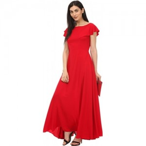 Lady Stark Red Crepe Solid Regular Fit Maxi Dress