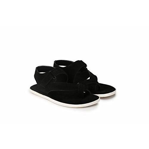 Big Fox Suede Black Leather Sandals For Men