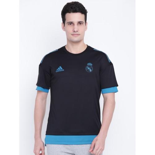 check out 79b16 7fb7a Buy Adidas Men Black & Blue Real Madrid EU TR Jersey T-shirt ...