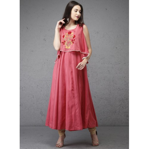 Anouk Pink Cotton Solid Kurta
