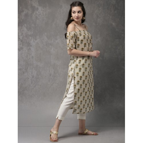 Anouk Women Beige Genda Phul Collection Chanderi Blend Printed Straight Kurta