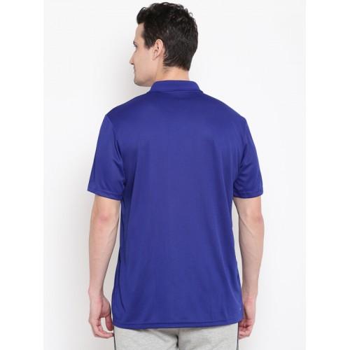 Adidas Men Blue Club Self-Checked Back Polo Collar T-shirt