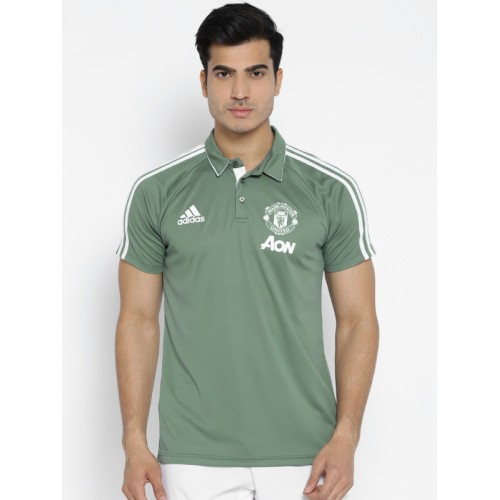 ... Adidas Men Green Manchester United FC Solid Football Polo T-shirt ...