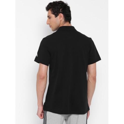 e714d2766 ... Adidas Men Black Essentials Base Solid Polo Collar T-shirt ...