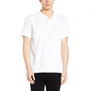 Adidas White Polyester Solid Men's Polo T-shirt