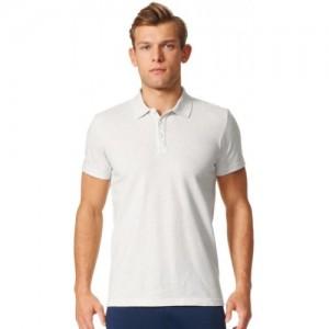 Adidas White Cotton Solid Men's Polo Neck T-Shirt