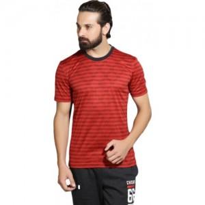Adidas Maroon Striped Men Round Neck T-Shirt