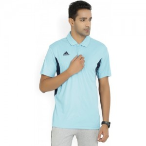 Adidas Light Blue Polyester Solid Men's Polo Neck T-Shirt
