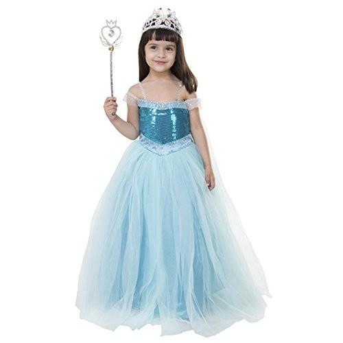 Samsara Couture Girls Disney Princess Net and Satin Gown