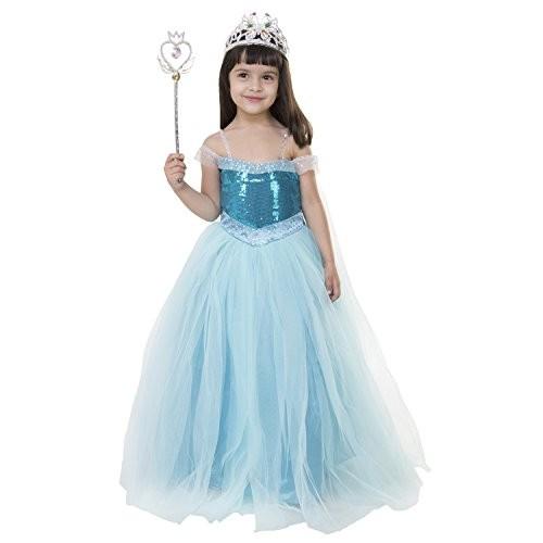 Samsara Couture Girls Disney Princess Net and Satin Gown