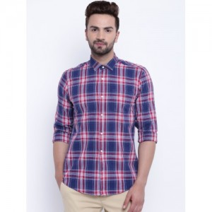 Blackberrys Men Navy Blue & Red Slim Fit Checked Casual Shirt