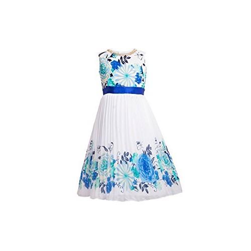 My Lil Princess Baby Girls Birthday Party wear Frock Dress_Tiara Blue_Georgette Fabric_3 - 8 Years