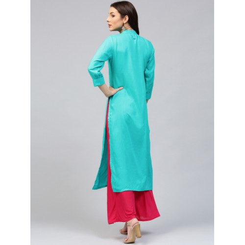 Libas Women Blue Solid Straight Kurta