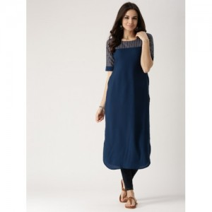 Libas Women Navy Blue Yoke Design Straight Kurta