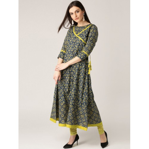Libas Women Navy & Green Printed A-Line Kurta