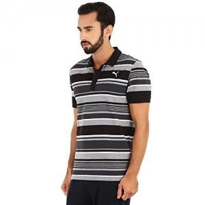 Puma Black Cotton Striped Polo T-shirt