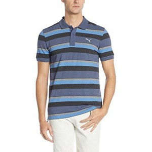 Puma Blue Cotton Elastane Striped Men's Polo T-shirt