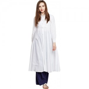 PANIT White Chikan Embroidery Women Anarkali Kurti