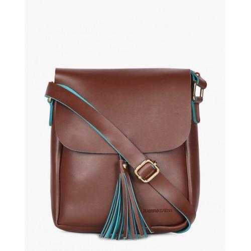 Kanvas Katha Women's Sling Bag (Dark Brown) (KKRSE003)