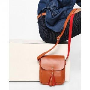 Kanvas Katha Tan Solid Sling Bag - KKRSE004