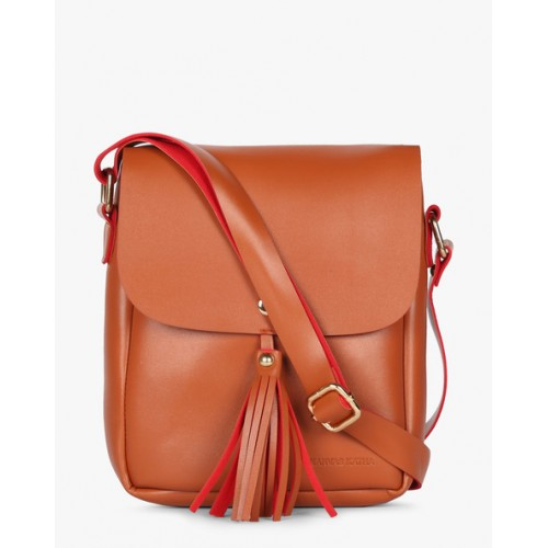 Kanvas Katha Tan Solid Sling Bag - KKRSE004