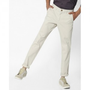 NETPLAY Off-White Tapered Fit Dobby Chinos
