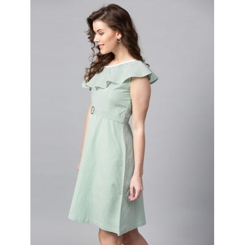 SASSAFRAS Women Green Striped One-Shoulder Fit & Flare Dress