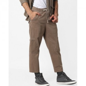 AJIO Brown Solid Trousers with Drawstring Fastening
