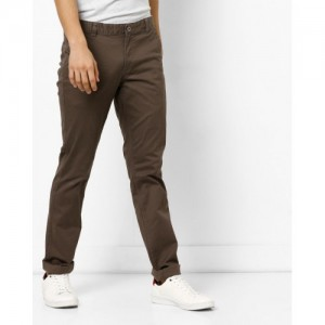 NETPLAY Brown Solid Mid-Rise Flat-Front Chinos