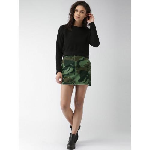 FOREVER 21 Olive Green Distressed Mini Skirt