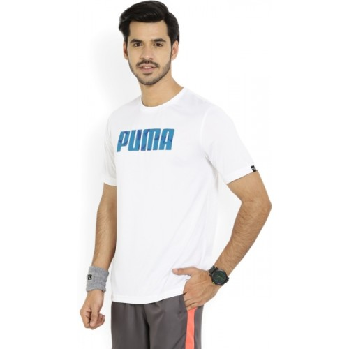 f43b947c5b5 Buy Puma White Polyester Solid Men's Round Neck T-Shirt online ...