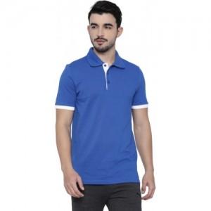Puma Blue Cotton Men's Polo Neck T-Shirt