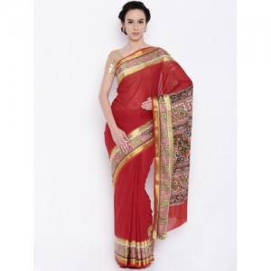 The Chennai Silks Classicate Red Printed Crepe Saree