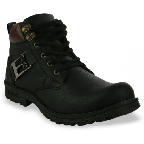 Shoe Island ® POPULAR Leatherette Classic-X Black Solid Casual Boots Boots For Men