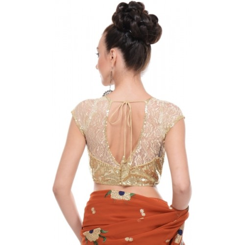NIKA Round Neck Golden Stitched Blouse