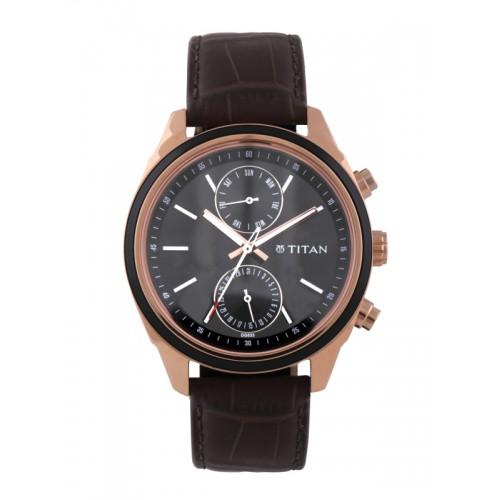 Titan 1733KL03 Brown Round Leather Chronograph Watch