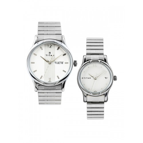 8554d15632 ... Titan Bandhan Set of 2 His & Her Off-White Dial Watches NE15802490SM03  ...
