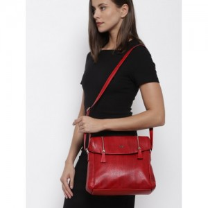 Baggit Red Synthetic Textured Sling Bag