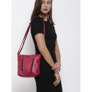Baggit Pink Synthetic Solid Sling Bag